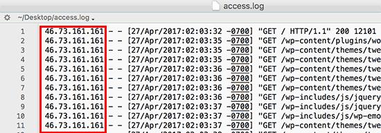 آدرسهای IP در پرونده ورود به سیستم